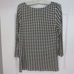 LRL Black & Off White Houndstooth Pull On Top M